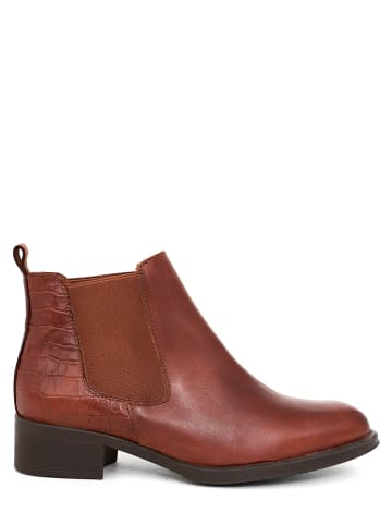 Abril Flowers Leder-Chelsea-Boots in Braun