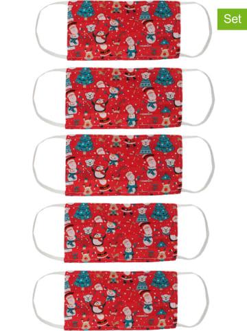 Zwillingsherz 5er-Set: Mund- und Nasen-Masken in Rot