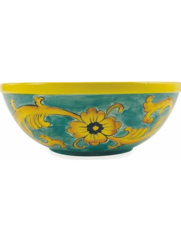 """Villa d´Este Miska """"Sicilia"""" w kolorze turkusowo-żółtym do sałatek - wys.10 x Ø 26,5 cm"""