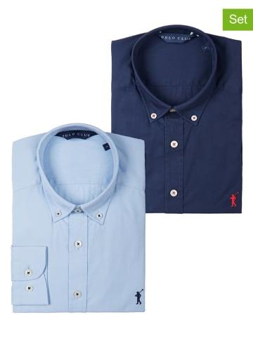 Polo Club 2er-Set: Hemden - Custom fit - in Dunkelblau/ Hellblau