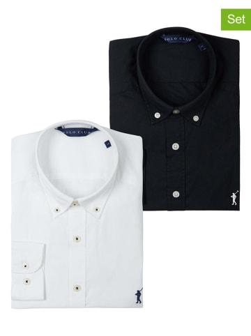 Polo Club 2er-Set: Hemden - Custom fit - in Schwarz/ Creme