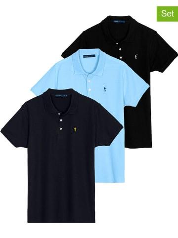 Polo Club Koszulki polo (3 szt.) w kolorze czarnym, granatowym i błękitnym