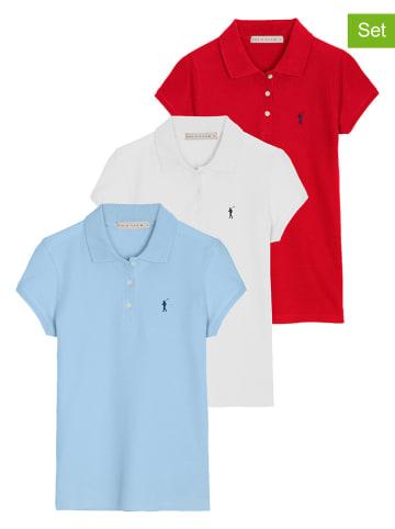 Polo Club Koszulki polo (3 szt.) w kolorze błękitnym, białym i czerwonym
