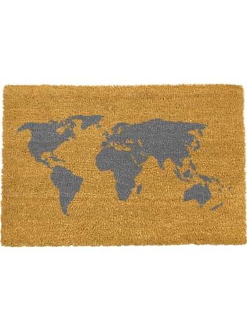 "Artsy Kokos-Fußmatte ""World Map"" in Hellbraun - (L)60 x (B)40 cm"