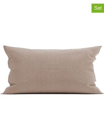 """Heckett Lane Poszewki flanelowe (2 szt.) """"Franela"""" w kolorze szarobrązowym na poduszkę"""