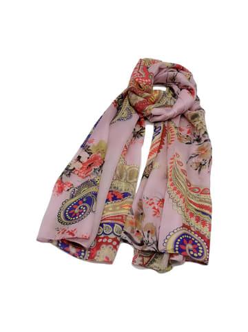 Made in Silk Jedwabny szal w kolorze jasnoróżowym ze wzorem - (D)180 x (S)90 cm