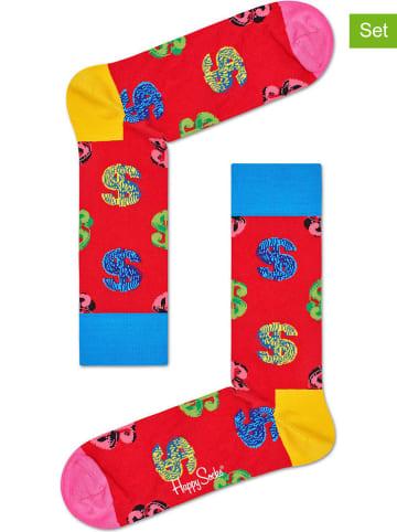 "Happy Socks 2-delige set: sokken ""Andy Warhol Dollar"" rood/meerkleurig"