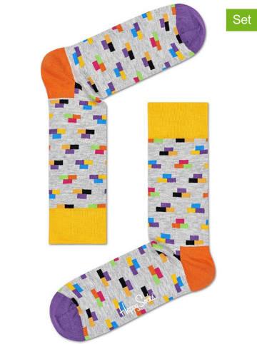 """Happy Socks Skarpety (2 pary) """"Brick"""" w kolorze szarym ze wzorem"""