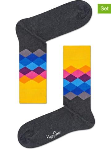 """Happy Socks Skarpety (2 pary) """"Faded Diamond"""" w kolorze szarym ze wzorem"""
