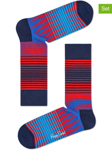 """Happy Socks Skarpety (2 pary) """"Sunrise"""" w kolorze niebiesko-czerwonym"""