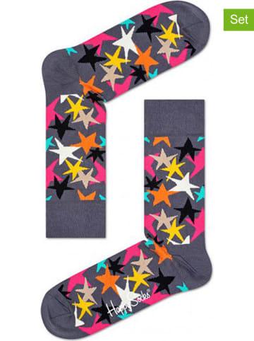 """Happy Socks 2-delige set: sokken """"Stars"""" grijs/meerkleurig"""