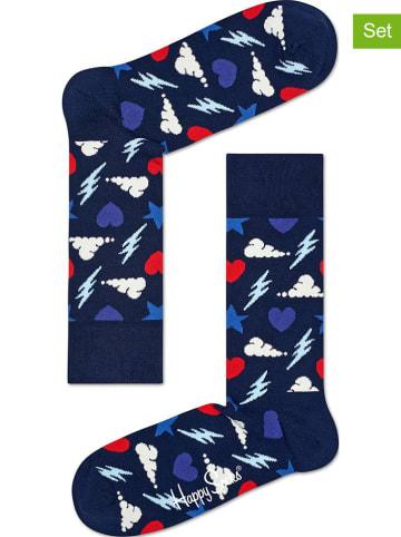 """Happy Socks Skarpety (2 pary) """"Storm"""" w kolorze granatowym"""