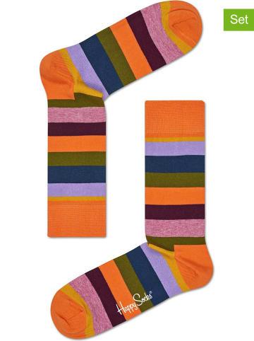 """Happy Socks Skarpety (2 pary) """"Stripe"""" w kolorze pomarańczowym ze wzorem"""