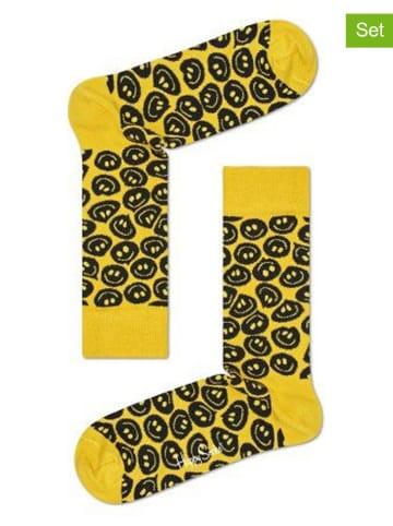"""Happy Socks Skarpety (2 pary) """"Twisted Smile"""" w kolorze czarno-żółtym"""