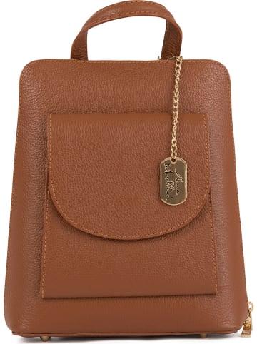 Anna Morellini Skórzany plecak w kolorze brązowym - 24 x 28 x 8 cm