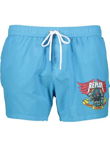 Replay Szorty kąpielowe w kolorze błękitnym