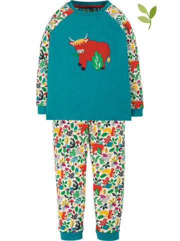 """Frugi Piżama """"Ace"""" w kolorze turkusowym ze wzorem"""