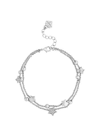 Diamond Style Bransoletka w kolorze srebrnym z zawieszkami i kryształami