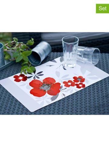 Calitex 4er-Set: Tischsets in Rot/ Grau