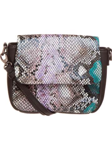 FREDs BRUDER Skórzana torebka w kolorze czarno-turkusowym - 16 x 12 x 6 cm