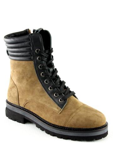 """Manoukian Leren boots """"Polette"""" kaki"""