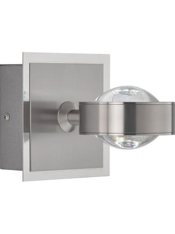 """FISCHER & HONSEL Ledwandlamp """"Z-Linse"""" nikkelkleurig - (B)12 x (H)12 cm"""