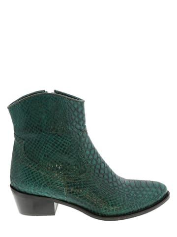 Lazamani Leren enkelboots groen