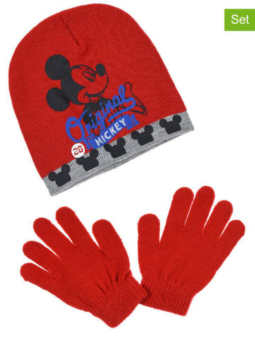 """Disney Mickey Mouse 2-częściowy zestaw zimowy """"Mickey Mouse"""" w kolorze czerwonym"""