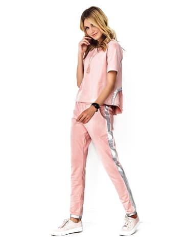 Makadamia 2tlg. Outfit: Bluse und Hose in Rosa