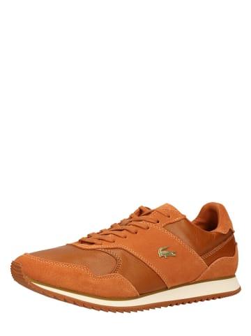 "Lacoste Skórzane sneakersy ""Aesthet Luxe"" w kolorze jasnobrązowym"