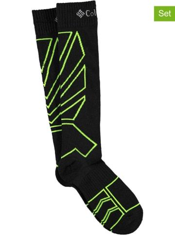 """Columbia Skarpety (2 pary) """"Performance Ski"""" w kolorze czarno-zielonym"""