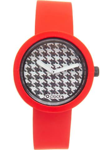 """O Bag Kwartshorloge """"O clock"""" rood"""