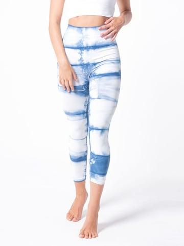 Anaissa Legginsy funkcyjne w kolorze niebiesko-białym