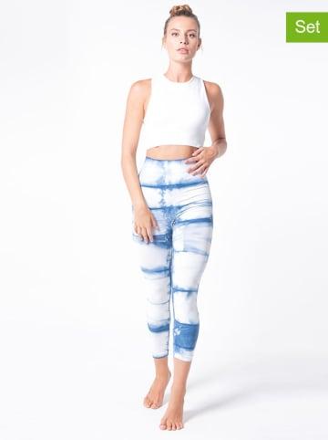 Anaissa 2-częściowy zestaw funkcyjny kolorze niebiesko-białym - top, legginsy