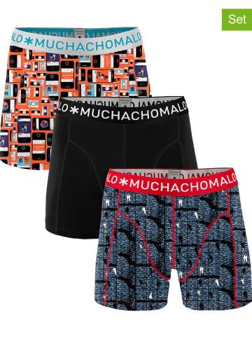 Muchachomalo Bokserki (3 pary) w kolorze czarnym ze wzorem