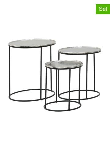 InArt 3-częściowy zestaw stolików w kolorze srebrnym