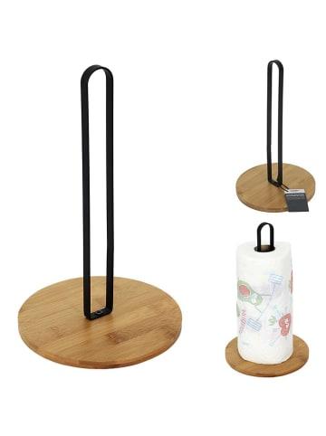 COOK CONCEPT Stojak w kolorze jasnobrązowo-czarnym na ręcznik - wys. 27 x Ø 16 cm