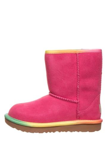 "UGG Leren lamsvacht boots ""Classic Short II"" roze"