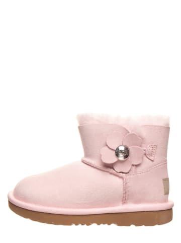 "UGG Leder-Lammfellboots ""Mini Bailey Button"" in Rosa"