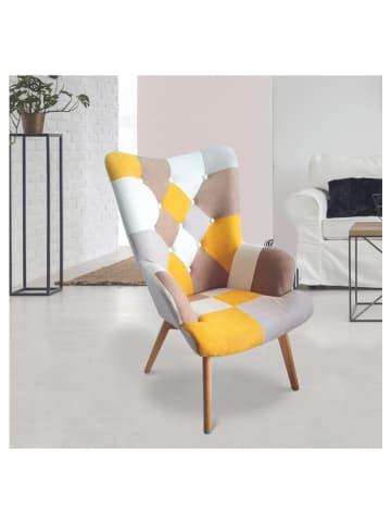 "THE HOME DECO FACTORY Sessel ""Helsinki"" in Gelb/ Grau - (B)72 x (H)99,5 x (T)66 cm"