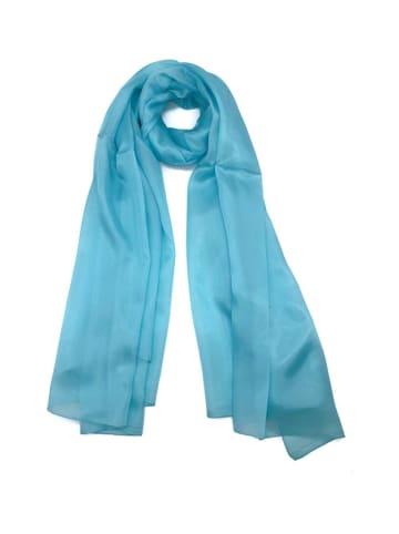 Made in Silk Zijden sjaal turquoise - (L)180 x (B)90 cm