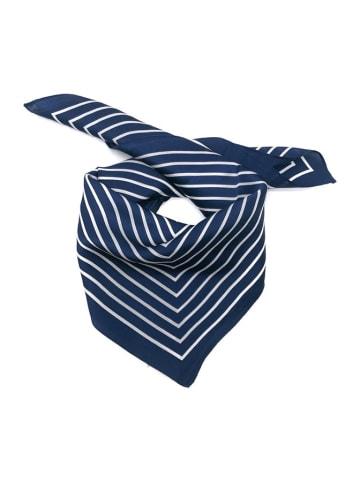 Made in Silk Jedwabna chusta w kolorze granatowo-białym ze wzorem - (D)52 x (S)52 cm