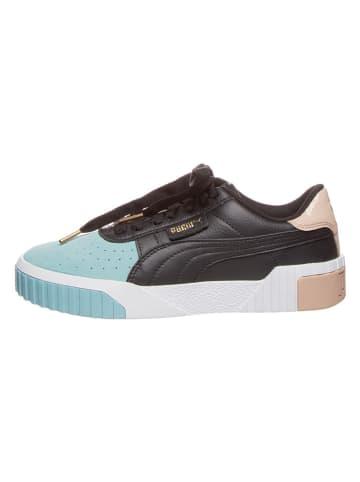 """Puma Skórzane sneakersy """"Cali Remix"""" w kolorze błękitno-czarno-beżowym"""