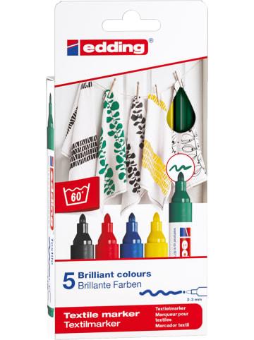 """Edding Textielstiften """"4500 - Basic"""" - 5 stuks"""