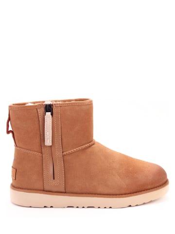 """UGG Leren boots """"Classic Mini Zip"""" lichtbruin"""