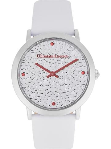Christian Lacroix Zegarek kwarcowy w kolorze srebrno-białym