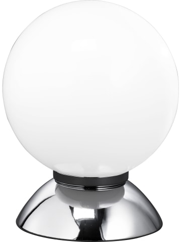 "ACTIOn by WOFI Tafellamp ""Pluto"" chroomkleurig/wit - (H)16 x Ø 12 cm"