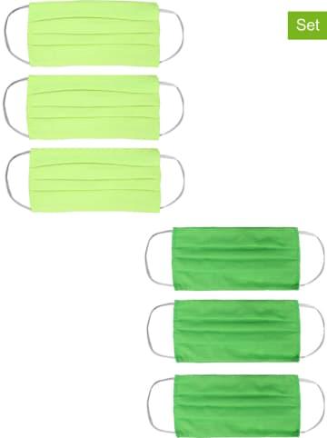 Zwillingsherz 6er-Set: Mund- und Nasen-Masken in Gelb/ Grün
