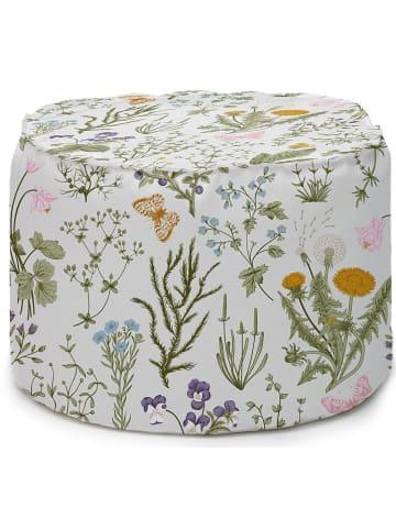 """Really Nice Things Poef """"Botanical"""" groen/meerkleurig - (H)55 x Ø 45 cm"""