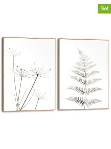 "Orangewallz 2-delige set: ingelijste kunstdrukken ""White Plants"" - (B)30 x (H)40 cm"